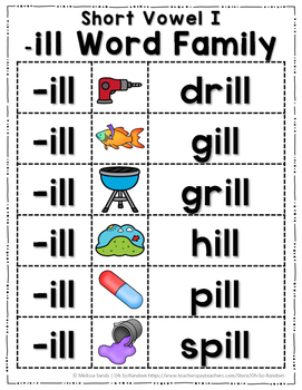 Short Vowel I Word Work {-ill Word Family}