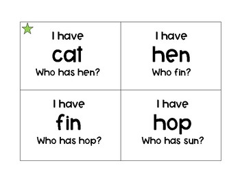 """Short Vowel """"I have ___? Who has ___?"""""""