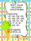 Short Vowel Ice Cream Word Families Bundle