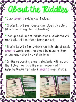 Short Vowel Inference Riddles: Short A