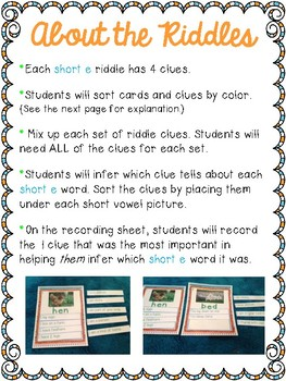 Short Vowel Inference Riddles: Short E