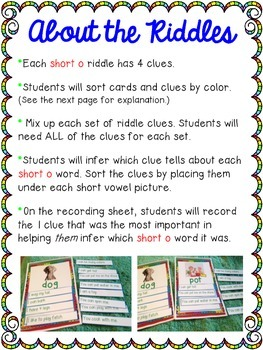 Short Vowel Inference Riddles: Short O