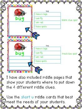 Short Vowel Inference Riddles: Short U