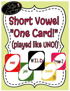 """Short Vowel """"One Card"""" Game (played like UNO!) COMPLETE SET!"""