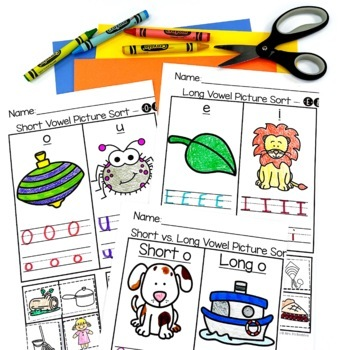 Short and Long Vowel Picture Sorts and Worksheets