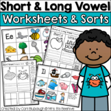 Short Vowel and Long Vowel Worksheets and Picture Sorts