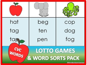 Short Vowel Lotto Games and Word Sorts