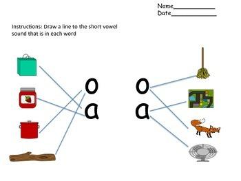 Short Vowel Matching Activity Freebie