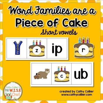 Word Family Short Vowel Mats:  A Piece of Cake