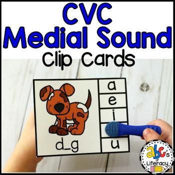 Short Vowel Medial Sounds Clip Cards