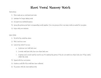 Short Vowel Memory Match