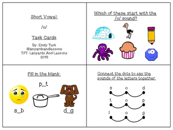 Short Vowel: O Task Cards