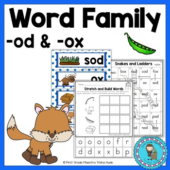 Short Vowel O Word Families OD and OX