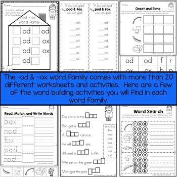 OD and OX Word Family Word Work