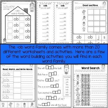 OB Word Family Word Work by First Grade Maestra Trisha Hyde | TpT