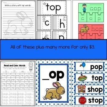 Short Vowel O Word Family OP Word Family