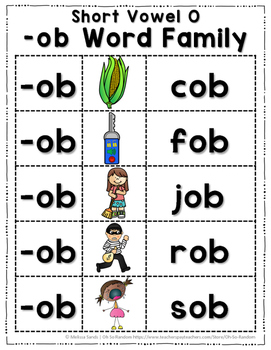 Short Vowel O Word Work {-ob Word Family}