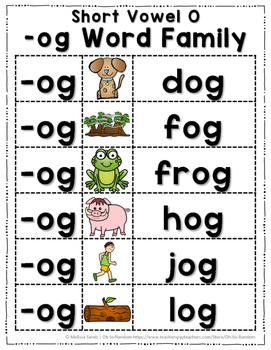 Short Vowel O Word Work {-og Word Family}