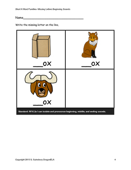 Short Vowel O Words Beginning Sounds