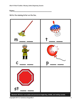 Short Vowel O Words Middle and Ending Sounds