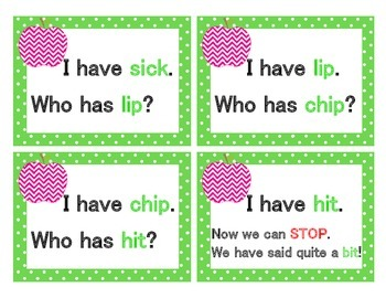 Short Vowel Pack  I have... Who has..? Cards