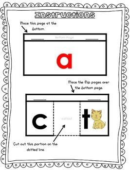 Short Vowel Phonic Flip Books for Interactive Notebooks