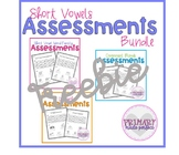 Short Vowel Phonics Assessments FREEBIE- Word Families, Bl