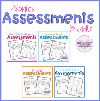 Short Vowel Phonics Assessments BUNDLE- Word Families, Blends, Digraphs