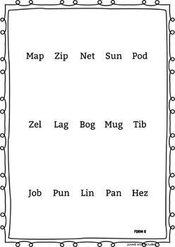 Short Vowel Phonics Inventory