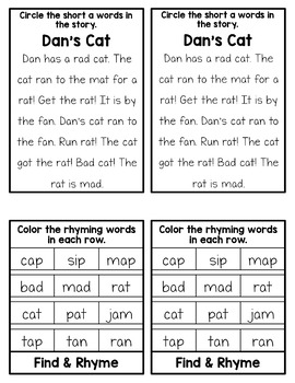 Short Vowel Phonics Mini Flip Books