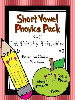 Short Vowel Phonics Pack- K-2  Printable Center Cut/Paste Activities
