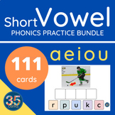 Short Vowel Phonics Practice Boom Cards™ - a free bundle o