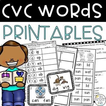 CVC Short Vowel Word Work Phonics 8 Interactive & Print and Go Activities