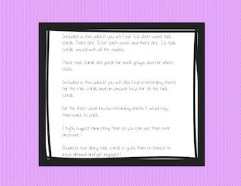 Short Vowel Phonics Task Cards