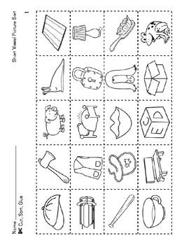 Short Vowel Picture Activities