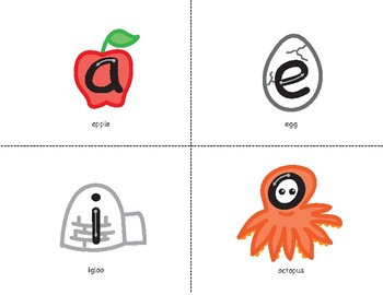 Short Vowel Picture Cards and Vowel Chart