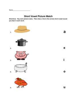 Short Vowel Picture Match