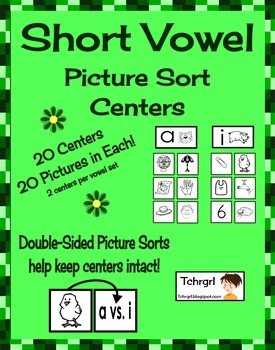 Short Vowel Picture Sorting Centers Set of 20 Literacy Centers