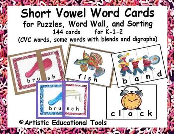 Short Vowel Color Picture Word Cards for Word Walls, Puzzl