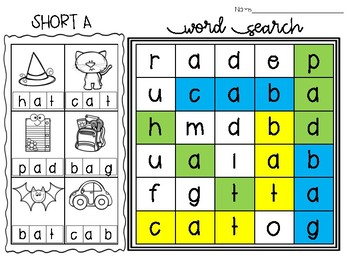 Short Vowel Picture Word Searches
