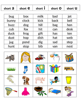 Short Vowel Picture and Word Sort
