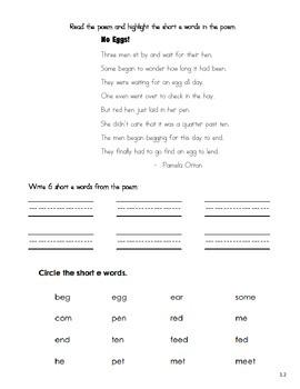 Short Vowel Poems
