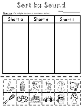 Short Vowel Popcorn Themed Sorting Center