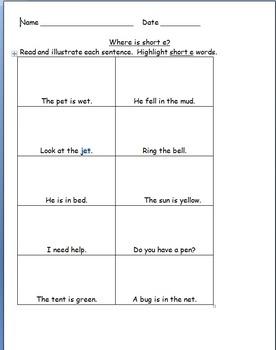 Short Vowel Practice Pages