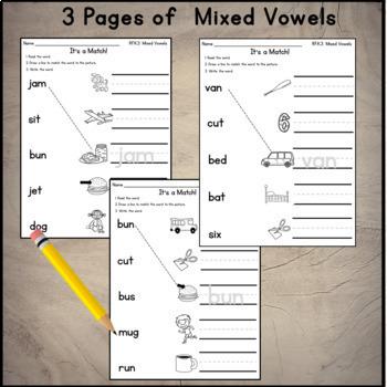 Short Vowel Practice Sheets CVC Read Match Write all vowels 12 pgs