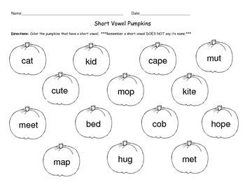 Short Vowel Pumpkins