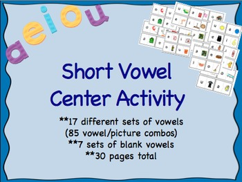 Short Vowel Literacy Center Puzzle Game Activity