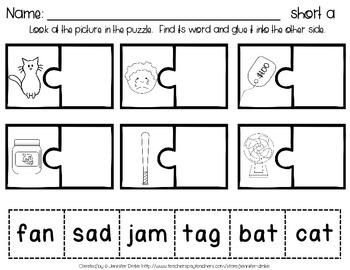 Short Vowel Puzzles  ~Short A Version~  20 puzzles PLUS Printables *CC Aligned*