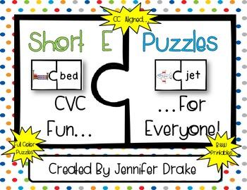 Short Vowel Puzzles ~Short E Version~  17 Puzzles PLUS Printables  *CC Aligned*