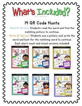 Short Vowel QR Code Hunts